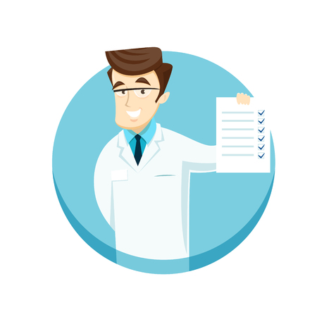 Young doctor with a check sheet. Vector illustration.