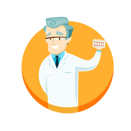 Doctor holding pills in their hands, advertising them. Vector illustration.