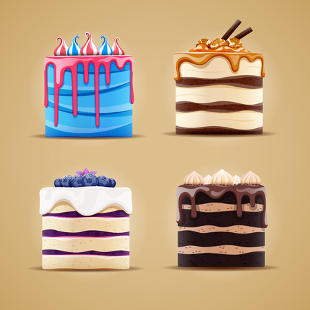 Four delicious different cakes with blueberry, meringue, caramel and marshmallow. Vector illustration.