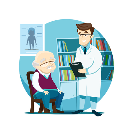Elderly patient on reception at the young doctor. Vector illustration.