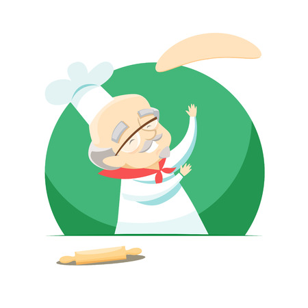 Elderly overweight baker making pizza by tossing dough. Vector illustration. 스톡 콘텐츠 - 125102724