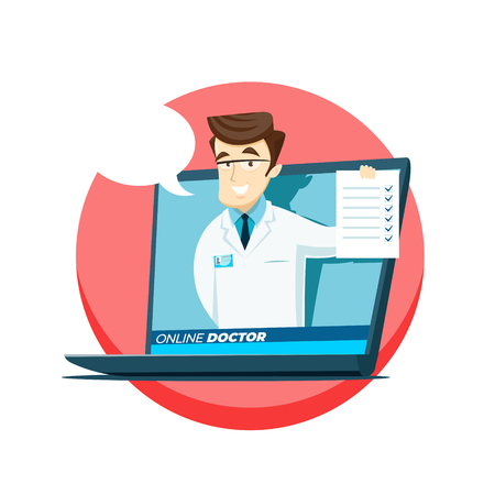 Online medicine concept, young doctor with a check sheet advises on the Internet. Vector illustration.