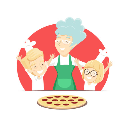 Grandmother with grandchildren bakes Italian pizza. Vector illustration. Illustration