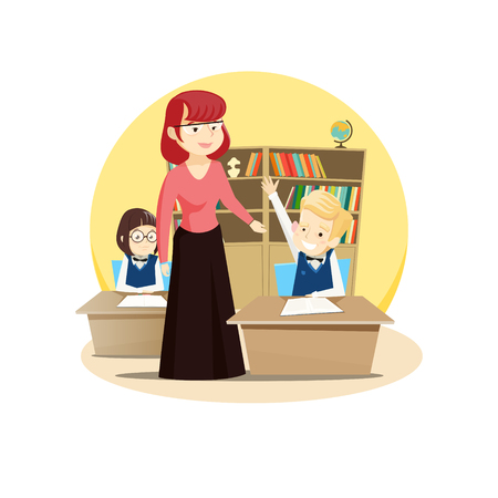 Red-haired teacher leads a class in the classroom, students sit at their desks and want to answer. Vector illustration.