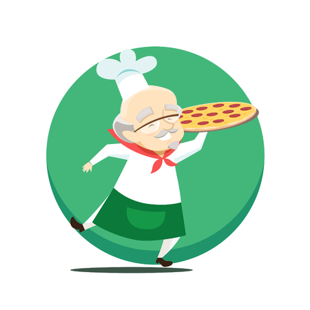 Elderly overweight baker holds pizza in hand. Vector illustration. Stockfoto - 117291305