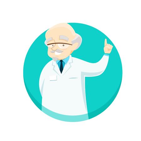 Elderly doctor gives advice holding his index finger up. Vector illustration. Illusztráció