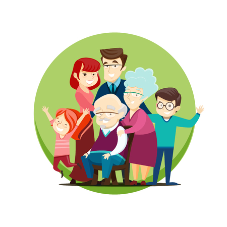Illustration of a large family with parents, grandparents and kids. EPS 10 file.