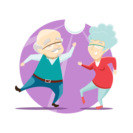 Grandma and Grandpa have fun and dance at the disco. Vector illustration.