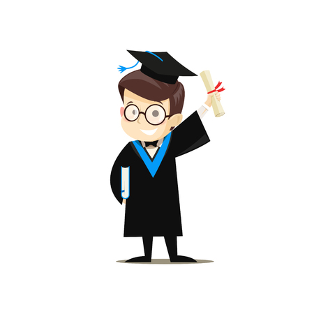 Happy graduate holding a book and diploma in his hands. Vector illustration.