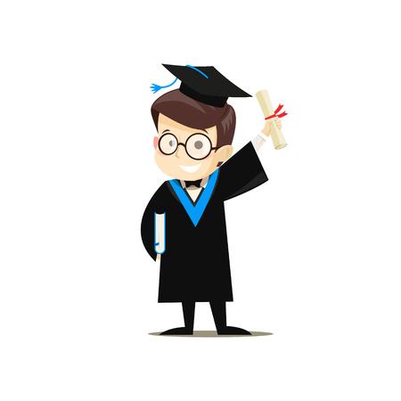 Heureux diplômé tenant un livre et un diplôme dans ses mains. Illustration vectorielle.