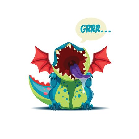 Vector illustration of the cute little dragon is roaring. EPS 10 file.