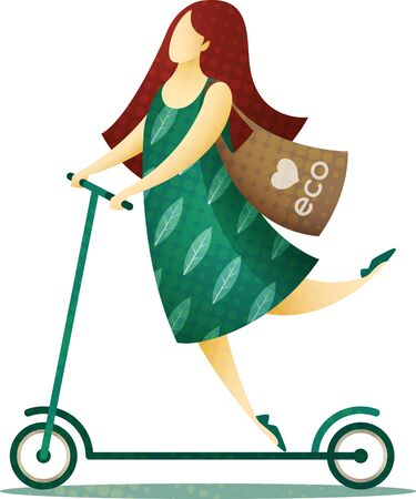 Happy woman in a green dress and with a biodegradable eco bag on her shoulder riding a scooter. EPS 10 file.