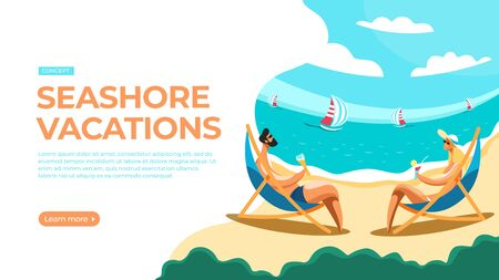 Young couple relaxing on the beach, sitting on the sun loungers and sipping drinks. Vector illustration of seashore vacations concept. Landing page main block layout.