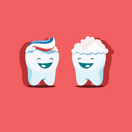 Vector illustration of funny cute teeth smeared with toothpaste. EPS 10 file.