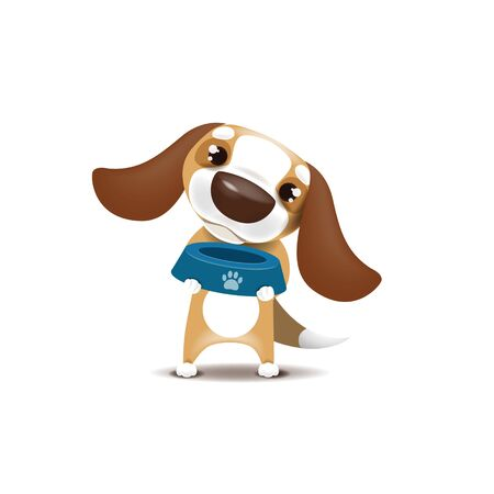 Vector illustration of a puppy who stands with a bowl in his hands and asks for food.   file.