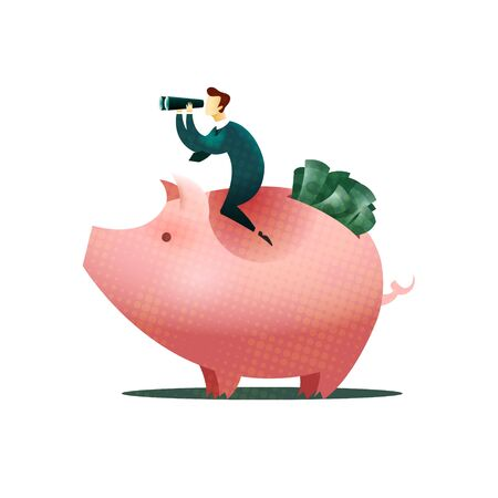 An investor is looking for where to invest money sitting on a piggy bank full of money. Investment concept. EPS 10 file.