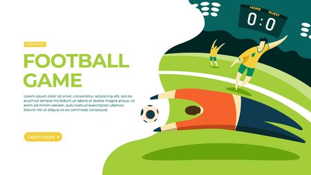 Goalkeeper catches the ball. Vector illustration of football game concept. Landing page main block layout. Imagens