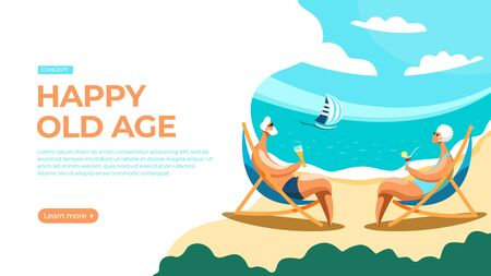Elderly couple relaxing on the beach, sitting on the sun loungers and sipping drinks. Vector illustration of happy old age concept. Landing page main block layout. Imagens