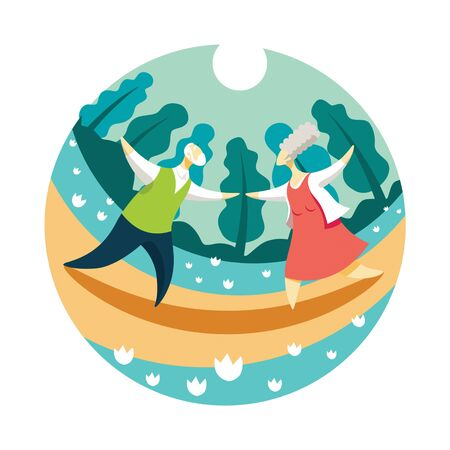 A couple of elderly people dancing in the Park in the evening. Vector illustration of happy old age concept. 스톡 콘텐츠