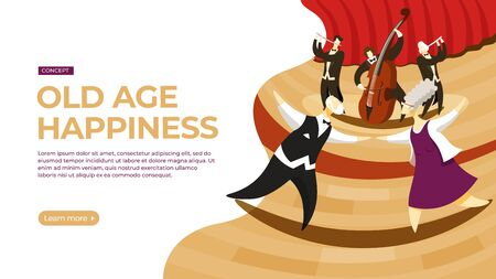 Elderly couple dancing to the music of the orchestra. Vector illustration of happy old age concept. Landing page main block layout.