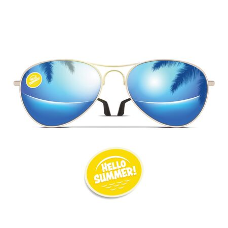 Vector illustration of aviator sunglasses that reflect the sea and the sun. EPS 10 file.