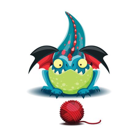 Little dragon playing with a ball of threads. Vector illustration of small dragon. EPS 10 file.