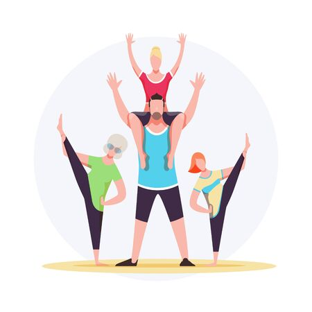 Vector illustration of a friendly sporty family. Grandmother, father, mother and daughter do fitness together. EPS 10 file.
