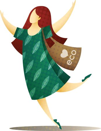 Happy woman with hands up, in green dress and with biodegradable eco bag on her shoulder. EPS 10 file. Imagens