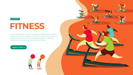 Young people play sports in the fitness hall. Vector illustration of fitness concept. Landing page main block layout.
