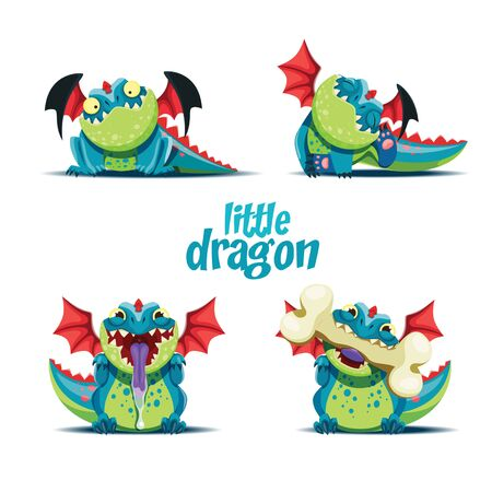 Vector set of illustrations of playful little dragon in different poses. EPS 10 file.