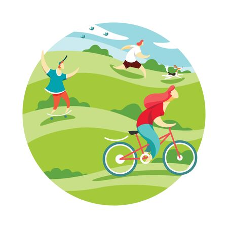 People are engaged in active recreation in the park, riding a bike, skateboarding and running. Vector illustration of healthy lifestyle concept. Imagens