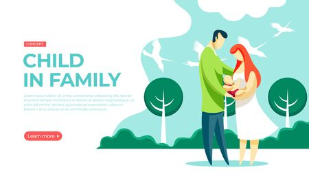 Happy young couple holding a newborn baby walking in the park. A flock of storks fly in the sky. Vector illustration of newborn child in family concept. Landing page main block layout.
