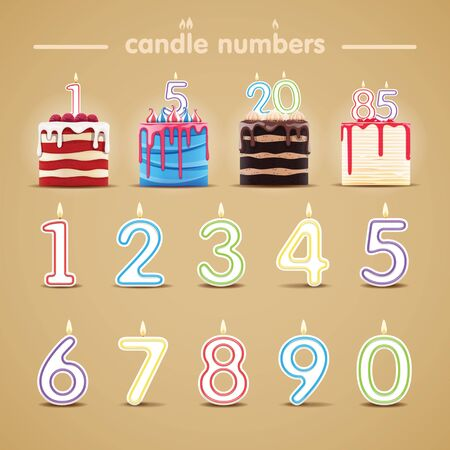 Vector illustration of set of candle numbers with cakes. Birthday card design elements.