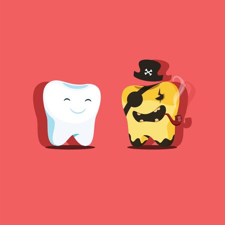 Vector illustration of two healthy and sick teeth. Sick tooth in the image of the evil pirate. EPS 10 file.