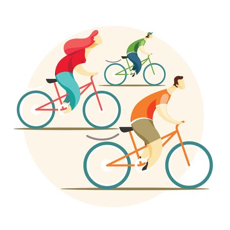 A group of cyclists riding bicycles. Men and women play sport concept. Vector illustration in flat style.