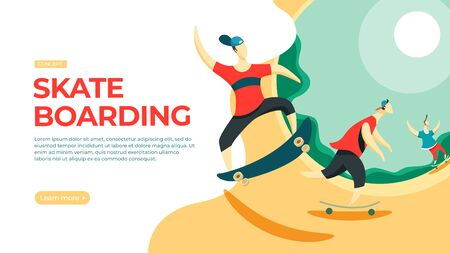 Young skateboarders training on the ramp. Vector illustration of skateboarding concept. Landing page main block layout. Stock Photo