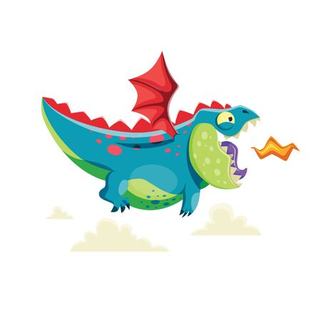 Vector illustration of cute little dragon flying in the sky. Imagens