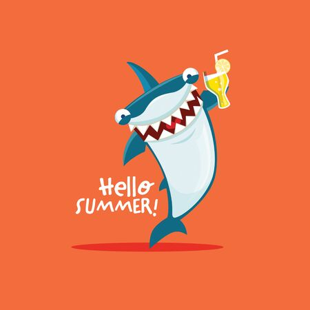 Vector illustration of shark with glass of drink. Hello summer. EPS 10 file.