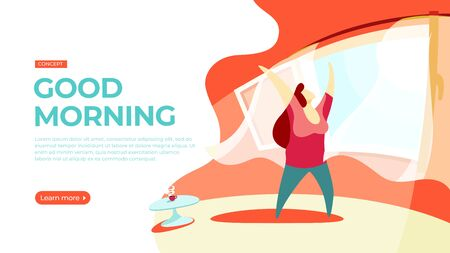 Young woman is stretching standing by the window. Vector illustration of morning awakening concept. Landing page main block layout.