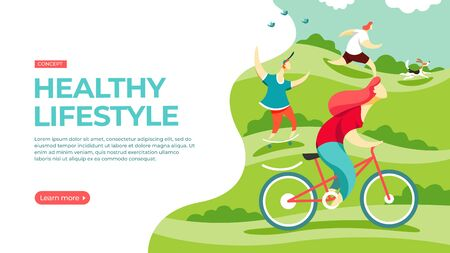 People play sports in the park, riding a bike, skateboarding and doing exercises with a fitball. Vector illustration of healthy lifestyle concept. Landing page main block layout.