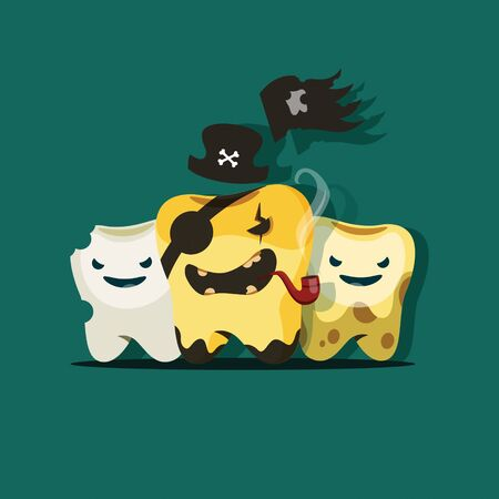 Vector illustration of rotten teeth in the image of a gang of pirates. EPS 10 file.