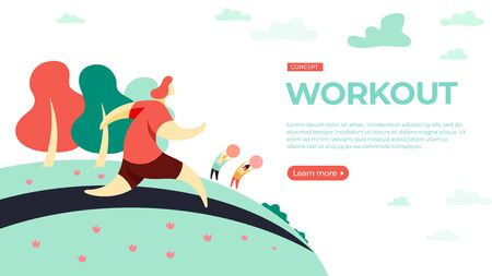 Women run and do fitness in the Park. Vector illustration of workout concept. Landing page main block layout. 写真素材