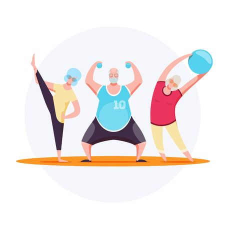 Vector illustration of the older men and women who do fitness. EPS 10 file.