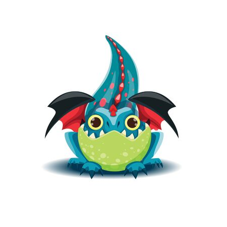 Little dragon is preparing to jump forward. Vector illustration of small dragon. EPS 10 file.