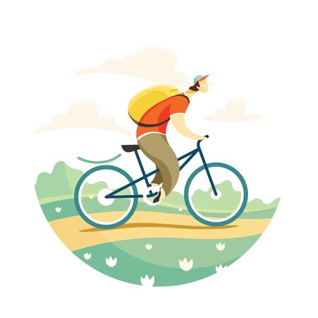 A man travels by Bicycle. Vector illustration in flat style. Imagens