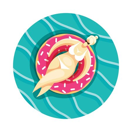 A blonde woman swimming on an inflatable donut on the swimming pool. EPS 10 file.