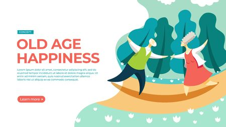 Elderly couple dancing in the park. Vector illustration of happy old age concept. Landing page main block layout.
