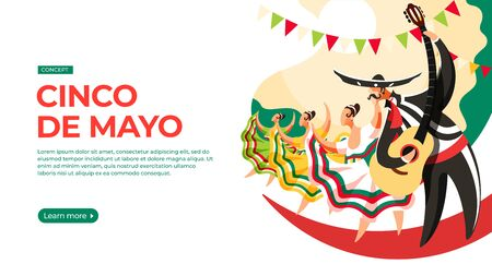 Men and women take part in the parade on the occasion of cinco de mayo. Vector illustration of cinco de mayo celebration concept. Landing page main block layout. Imagens
