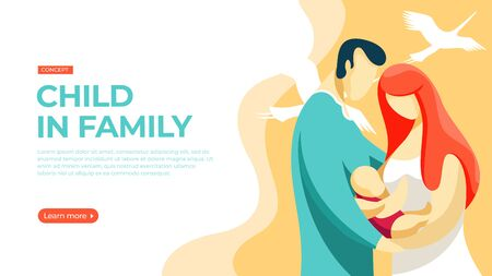 Happy young couple holding a newborn baby. Vector illustration of newborn child in family concept. Landing page main block layout.