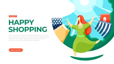 Young woman walking down the street with shopping bags. Vector illustration of happy shopping concept. Landing page main block layout.